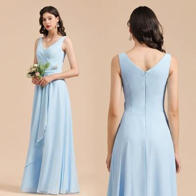 Sky Blue V-Neck Sleevels Ruffle Chiffon Bridesmaid Dress_10