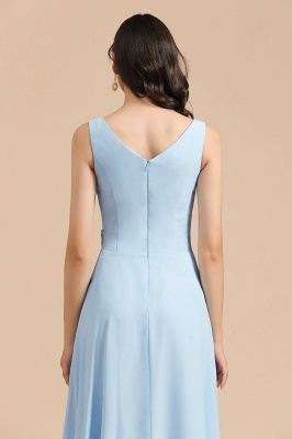 Sky Blue V-Neck Sleevels Ruffle Chiffon Bridesmaid Dress_9