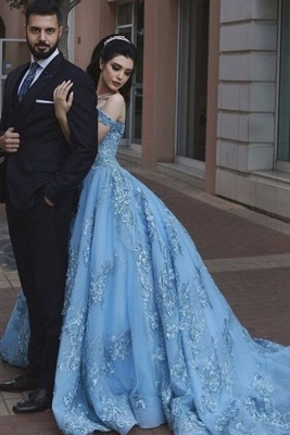 Off the shoulder Blue Evening Dresses Long Cheap Prom dresses with lace_2