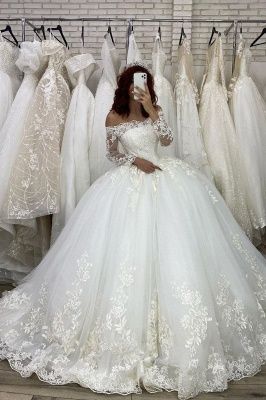 Off Shoulder Lace Long Sleeves Ball Gown White Bridal Gowns_2