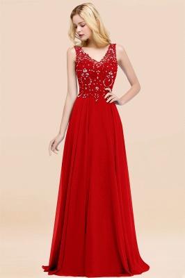 Straps V Neck  Applique Crystal Sequin Floor Length A Line Prom Dresses_8