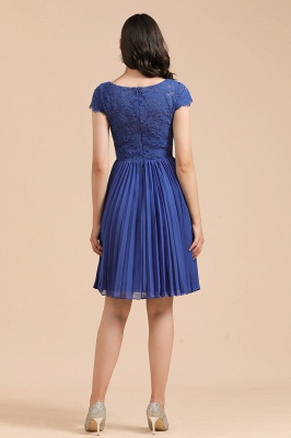 Royal Blue Short Sleeves Knee Length Mini Bridesmaid Dresses_5