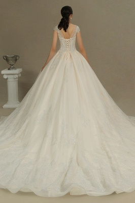 A Line Cap Sleeve Tulle Lace Wedding Dress Appliques Cathedral Garden Bridal Gowns_7