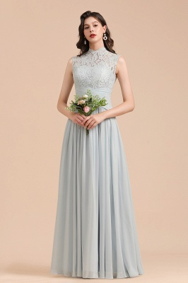 Floor Length Chiffon High Neck Lace Bridesmaid Dresses_1