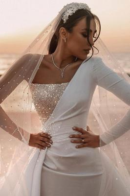 Sexy One Shoulder Ruffle Satin Seqiuns Mermaid Bridal Dresses_9