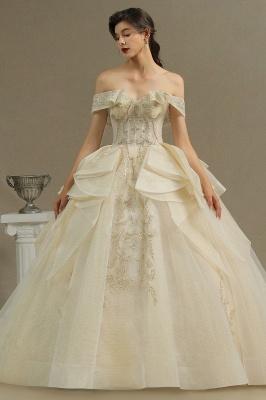 Gorgeous Off-the-Shoulder Ivory Wedding Dresses Floral Appliques Ball Gown Bridal Dress_2