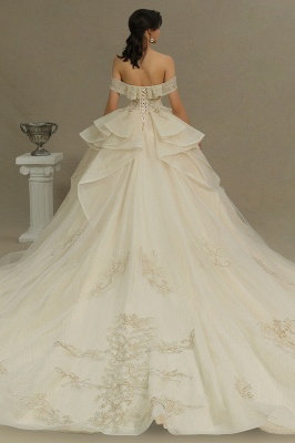 Gorgeous Off-the-Shoulder Ivory Wedding Dresses Floral Appliques Ball Gown Bridal Dress_6