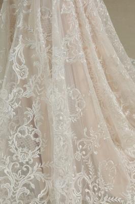 Fur Leather Lace Off Shoulder V-Neck Mermaid Wedding Gowns_6