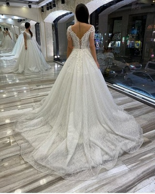 A line off the shoulder lace wedding dresses sleeveless_2