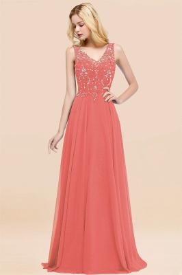 Straps V Neck  Applique Crystal Sequin Floor Length A Line Prom Dresses_7