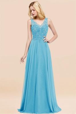 Straps V Neck  Applique Crystal Sequin Floor Length A Line Prom Dresses_24