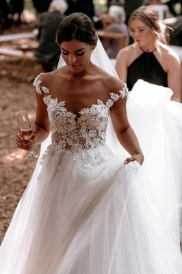 Floor Length White Cap Sleeve Tulle Lace Wedding Dresses_3