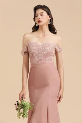 Off Shoulder Floral Lace Appliques Mermaid Bridesmaid Dress_9