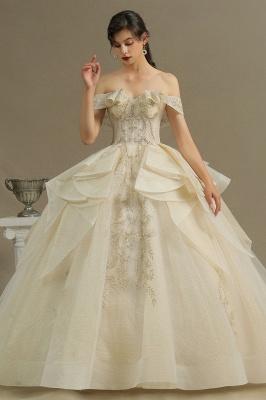 Gorgeous Off-the-Shoulder Ivory Wedding Dresses Floral Appliques Ball Gown Bridal Dress_1