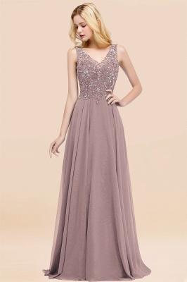 Straps V Neck  Applique Crystal Sequin Floor Length A Line Prom Dresses_37