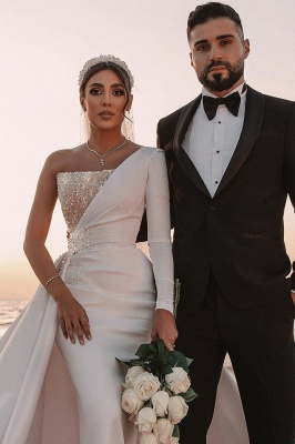 Sexy One Shoulder Ruffle Satin Seqiuns Mermaid Bridal Dresses_4
