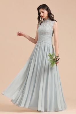 Floor Length Chiffon High Neck Lace Bridesmaid Dresses_6