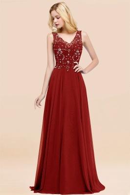 Straps V Neck  Applique Crystal Sequin Floor Length A Line Prom Dresses_48