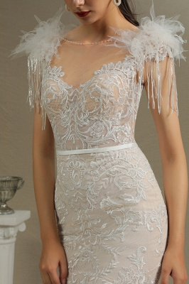 Fur Leather Lace Off Shoulder V-Neck Mermaid Wedding Gowns_4