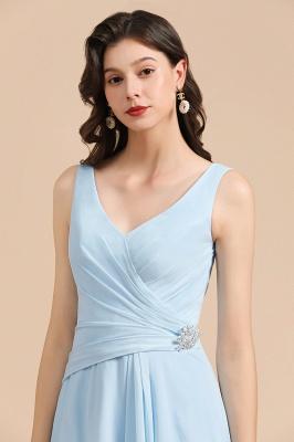 Sky Blue V-Neck Sleevels Ruffle Chiffon Bridesmaid Dress_8