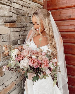 Beautiful mermaid wedding dresses v neck Wedding gown with lace_2