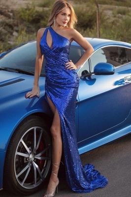 Floor Length One Shoulder Mermaid Glitter Sequins Prom Dresses_1