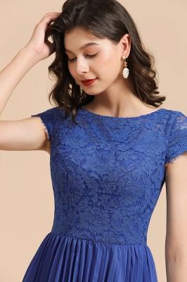 Royal Blue Short Sleeves Knee Length Mini Bridesmaid Dresses_8