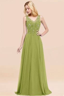 Straps V Neck  Applique Crystal Sequin Floor Length A Line Prom Dresses_34