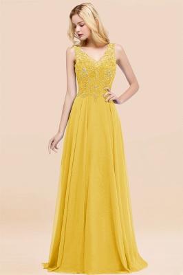 Straps V Neck  Applique Crystal Sequin Floor Length A Line Prom Dresses_17