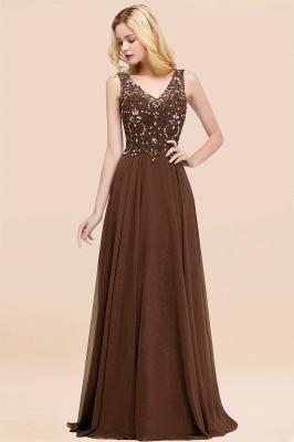 Straps V Neck  Applique Crystal Sequin Floor Length A Line Prom Dresses_12