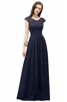 A-line Long Cap Sleeves Lace Top Chiffon Bridesmaid Dress_4