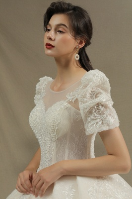 Charming Short Sleeve Sweetheart Wedding Dresses Garden Bridal Gowns Sweep Train_6