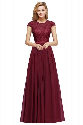 Cheap A-line Jewel Short Sleeves Chiffon Lace Bridesmaid Dress in Stock_3
