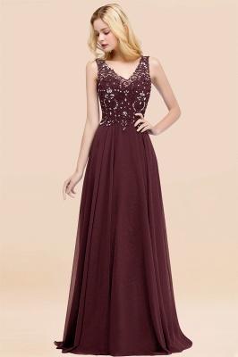 Straps V Neck  Applique Crystal Sequin Floor Length A Line Prom Dresses_47