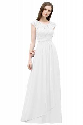 A-line Long Cap Sleeves Lace Top Chiffon Bridesmaid Dress_2