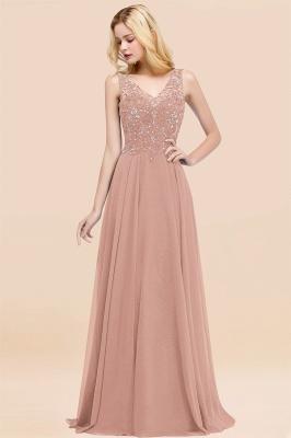 Straps V Neck  Applique Crystal Sequin Floor Length A Line Prom Dresses_6