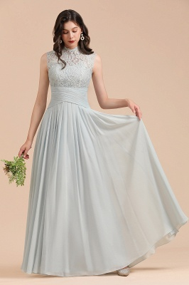 Floor Length Chiffon High Neck Lace Bridesmaid Dresses_4
