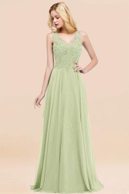 Straps V Neck  Applique Crystal Sequin Floor Length A Line Prom Dresses_35