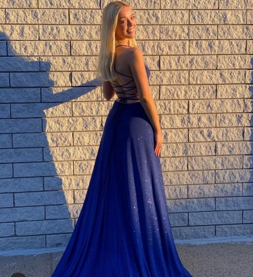 Long Mermaid Prom dresses dark blue Evening dresses long glitter_2