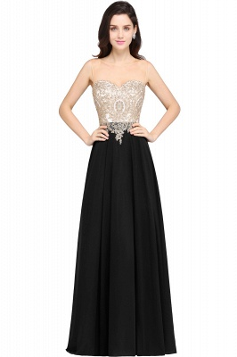 Cheap Sheer Tulle A-line Chiffon Beads Lace Appliques Sleeveless Long Evening Dress in Stock_4