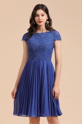 Royal Blue Short Sleeves Knee Length Mini Bridesmaid Dresses_9