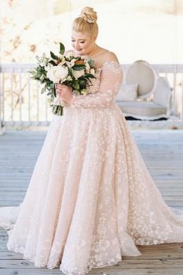 Plus size wedding dresses Lace Oversized wedding dresses with sleeves_1