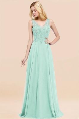 Straps V Neck  Applique Crystal Sequin Floor Length A Line Prom Dresses_36