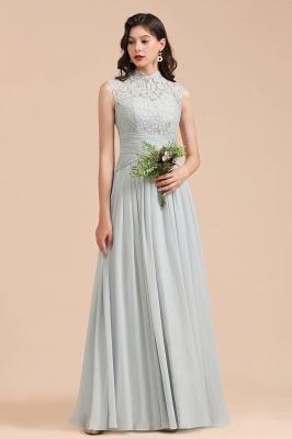Floor Length Chiffon High Neck Lace Bridesmaid Dresses_2