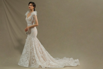 Fur Leather Lace Off Shoulder V-Neck Mermaid Wedding Gowns_5