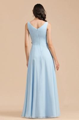 Sky Blue V-Neck Sleevels Ruffle Chiffon Bridesmaid Dress_3