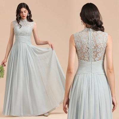 Floor Length Chiffon High Neck Lace Bridesmaid Dresses_10