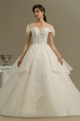 Elegant Off-the-Shoulder Tulle Lace Bridal Gown Ball Gown Floor Length Wedding Dress_2
