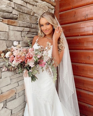 Beautiful mermaid wedding dresses v neck Wedding gown with lace_4