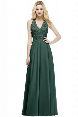 Cheap A-line V-neck Sleeveless Long Appliques Chiffon Bridesmaid Dress in Stock_4